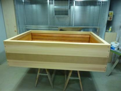 Huilage d'un bain japonais rectangulaire